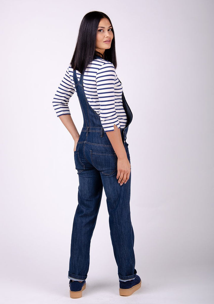 Full rear-side pose wearing 5-pocket overalls.