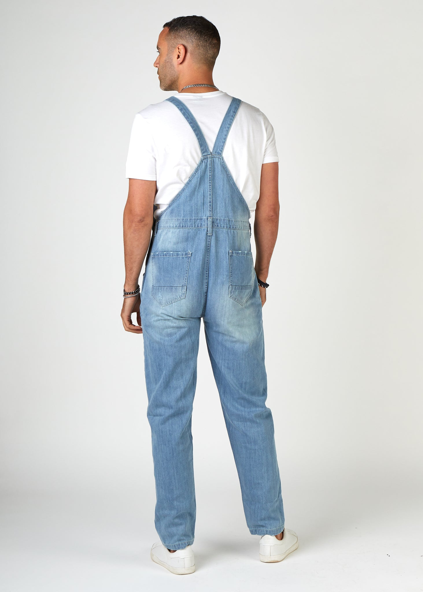 BERTIE Mens Loose Fit Dungarees Pale Wash with Rips