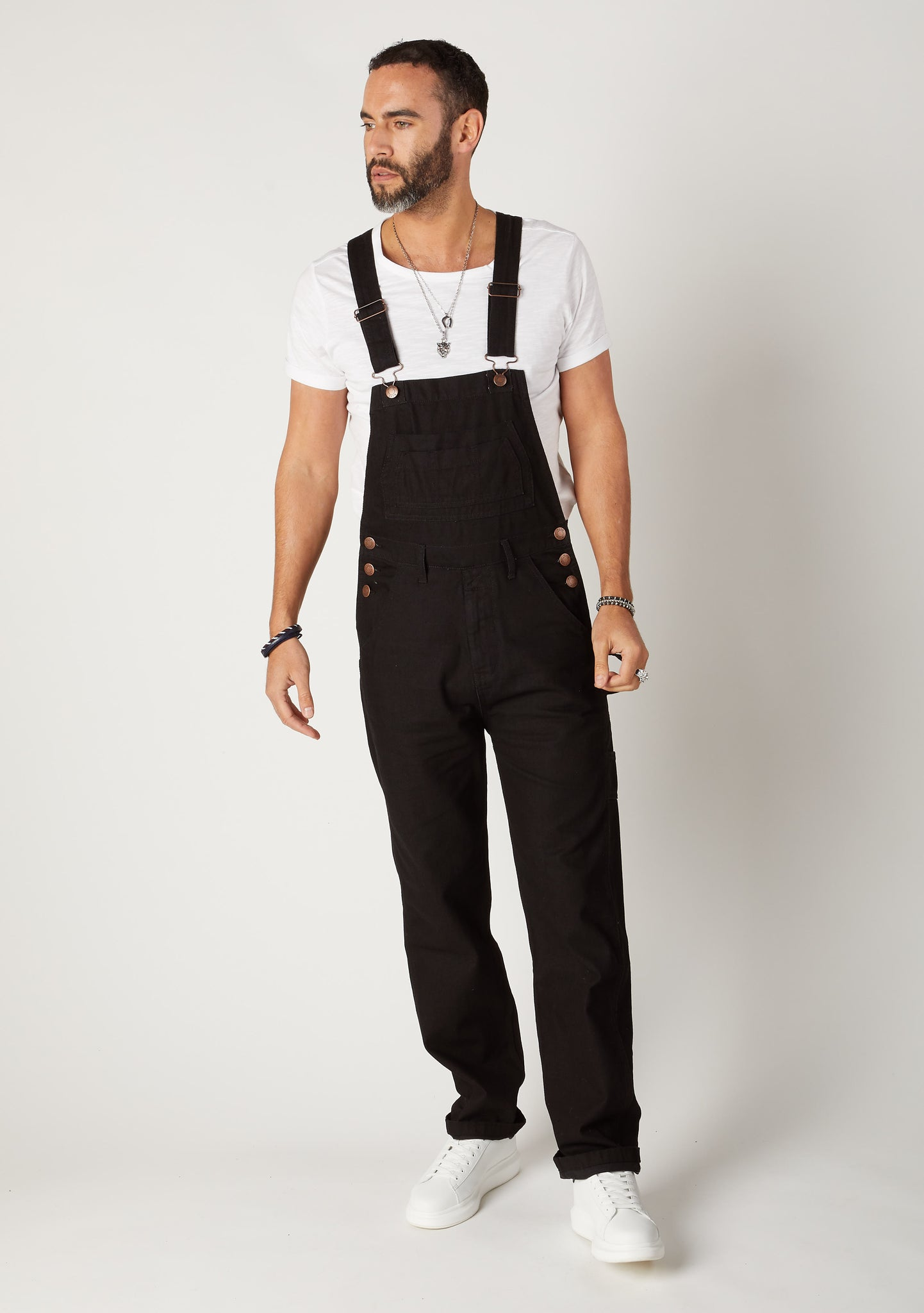 Front full-length pose of Wash Clothing Co. Classic 5-pocket-dungarees in black