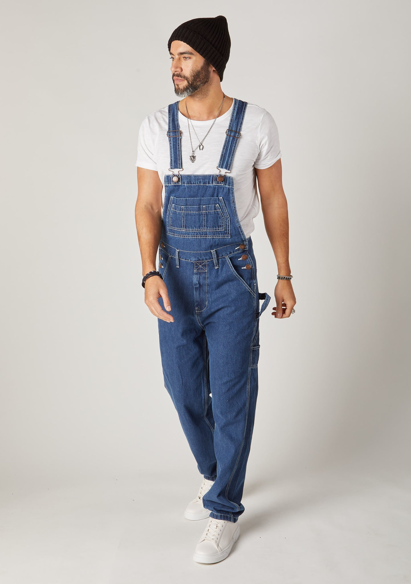 Front full-length pose of Wash Clothing Company Classic 5-pocket-dungarees in stonewash denim