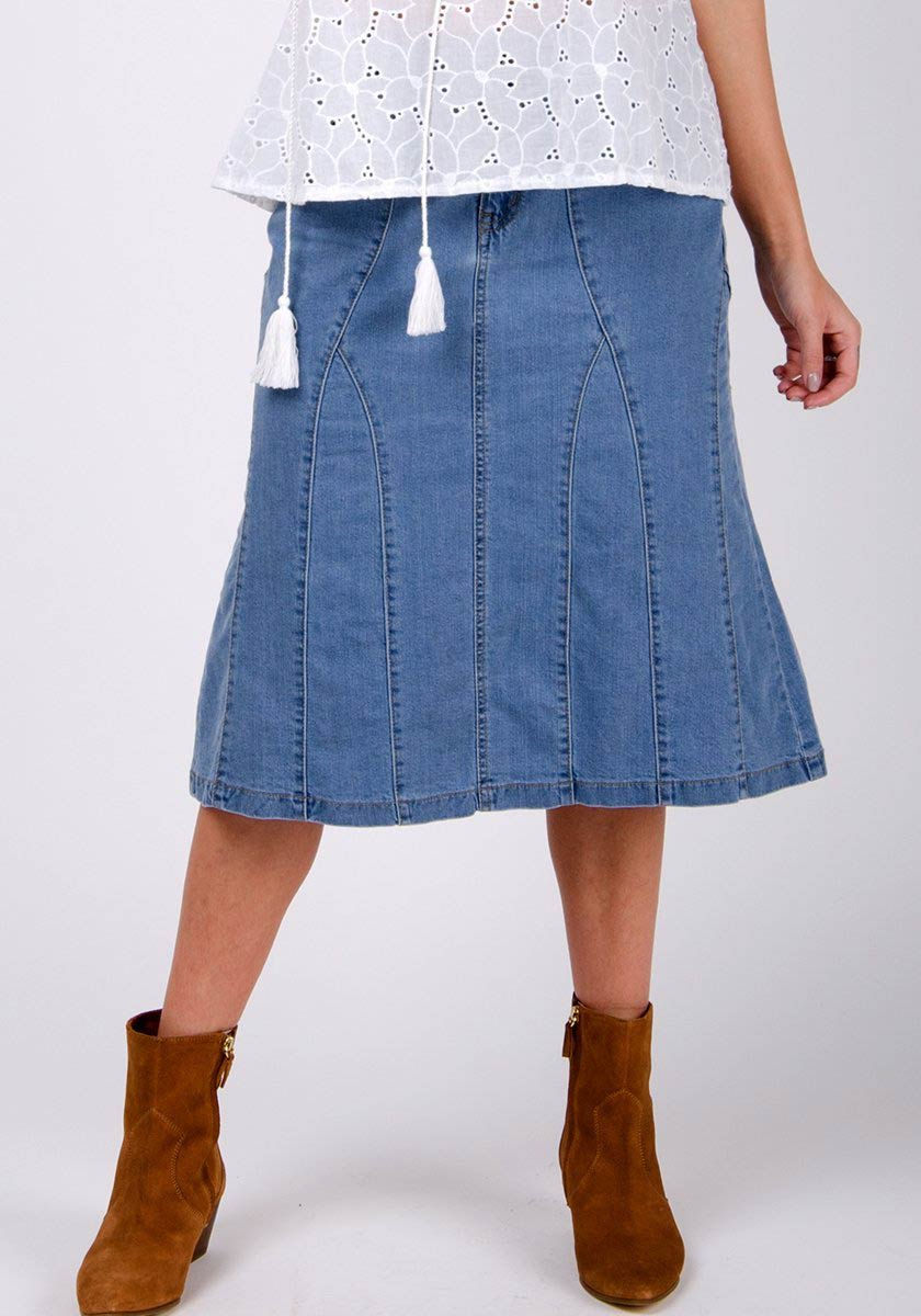 Half-front pose focussing on panels and zip styling of knee length denim skirt.