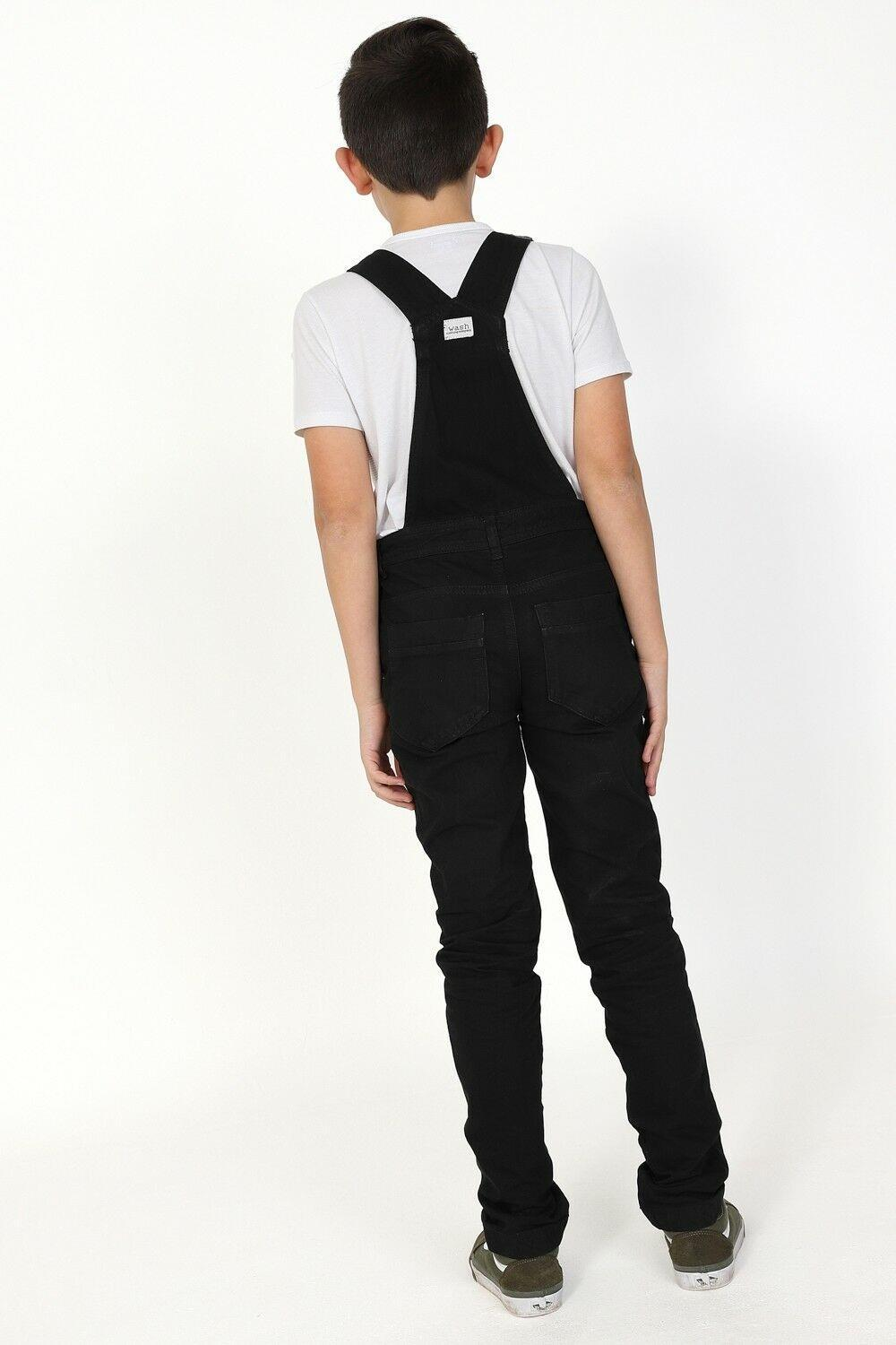 Full length, slightly angled view of black, active kids, dungarees.
