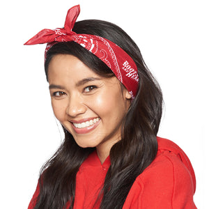 Boots and Hearts Red Bandana