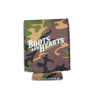 Boots and Hearts Camo Koozie