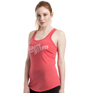 Boots and Hearts Ladies Red Racerback Tank
