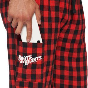 Boots and Hearts Unisex Plaid Pajama Bottoms