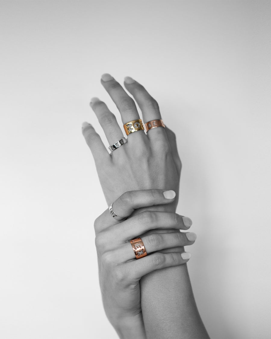 Letter Ring / Wide / Gold Styles