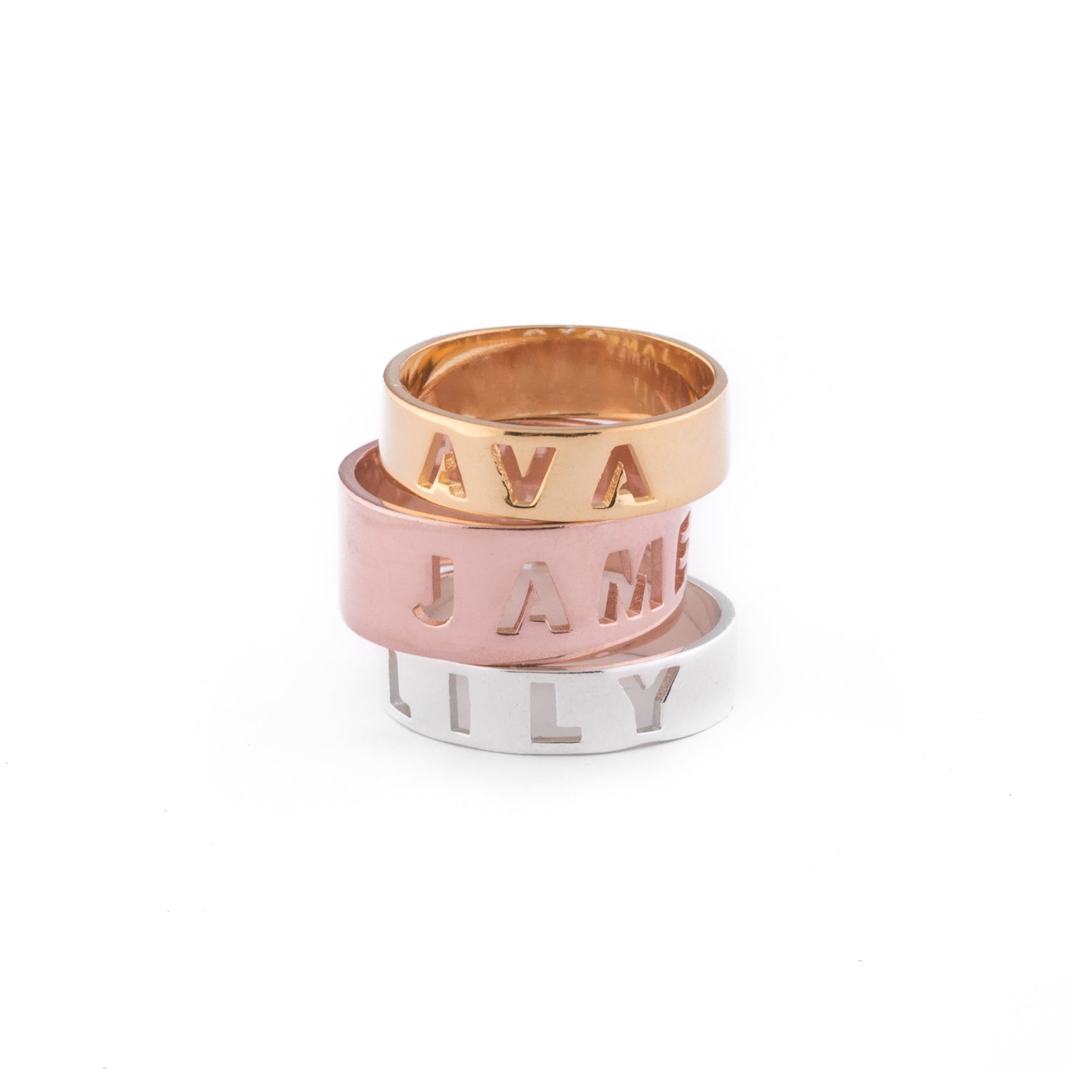 Letter Ring / Wide / Sterling Silver