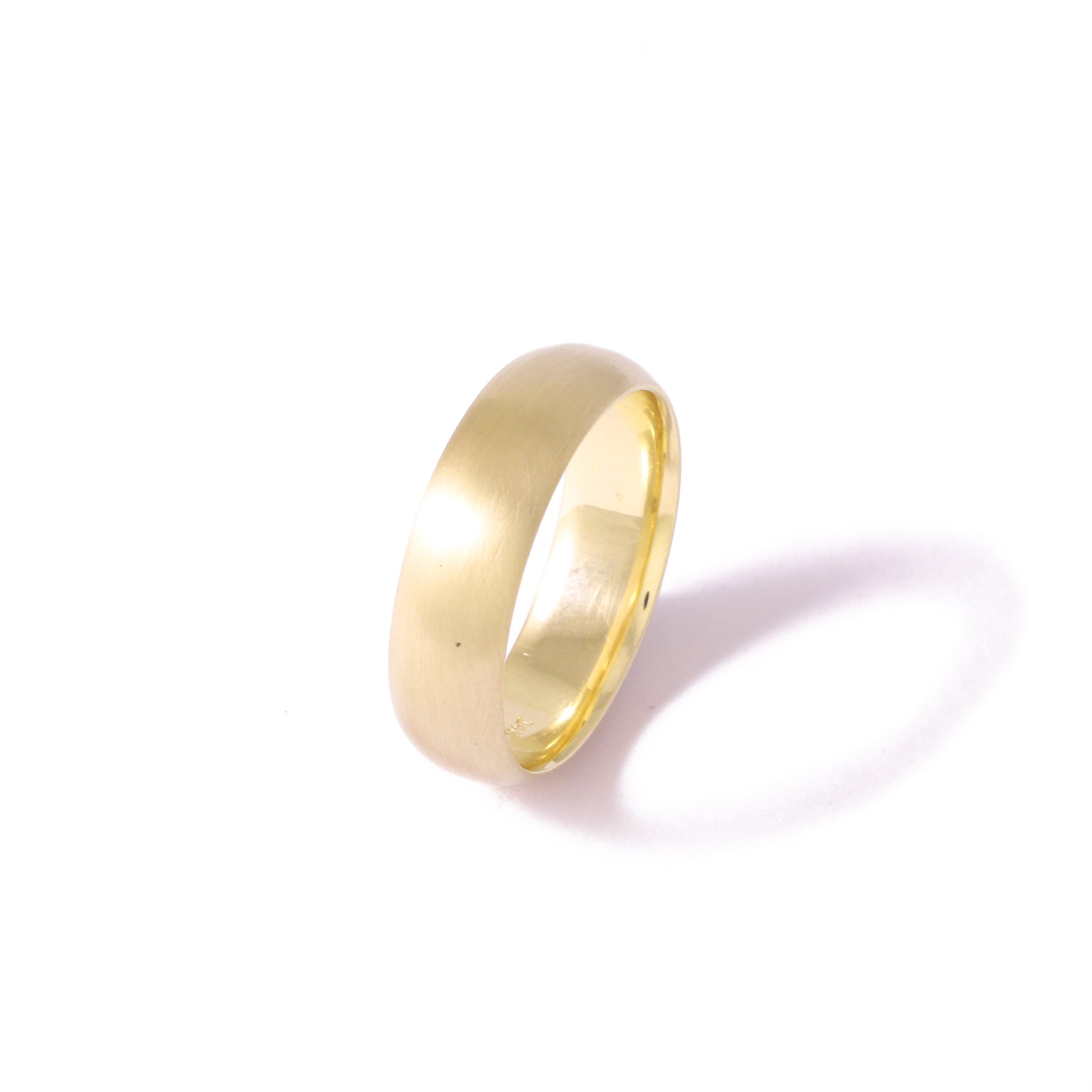 9ct Yellow Gold Half Round Men's Band 6mm Satin Finished