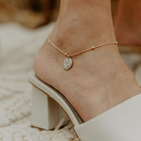Rolo Oval Bead Anklet in Gold