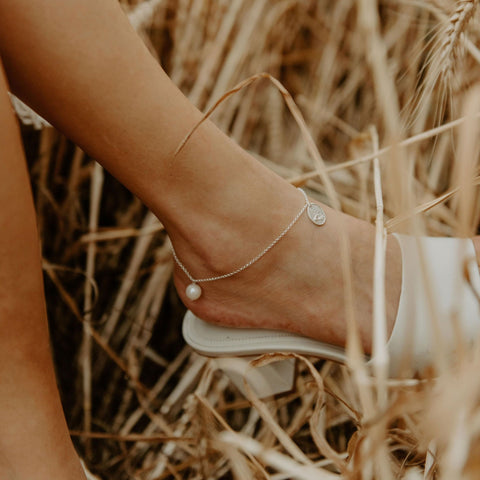 Rolo Oval Anklet in Silver