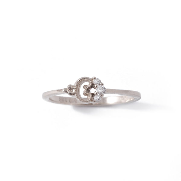 9ct White Gold Petite Blossom Ring