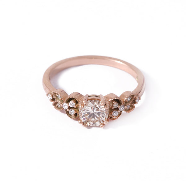 9ct Rose Gold Orchid Diamond Engagement Ring