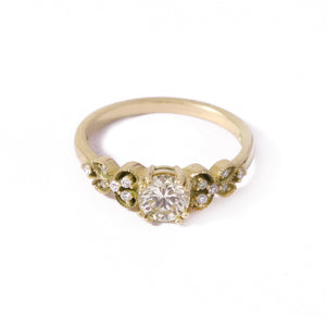 9ct Yellow Gold Orchid Diamond Engagement Ring