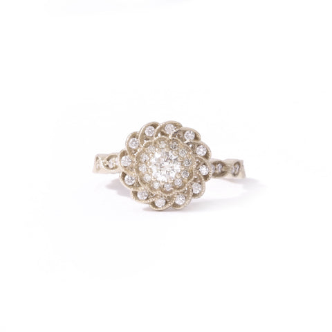 9ct White gold Diamond Peony Ring