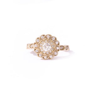 9ct Yellow gold Diamond Peony Ring