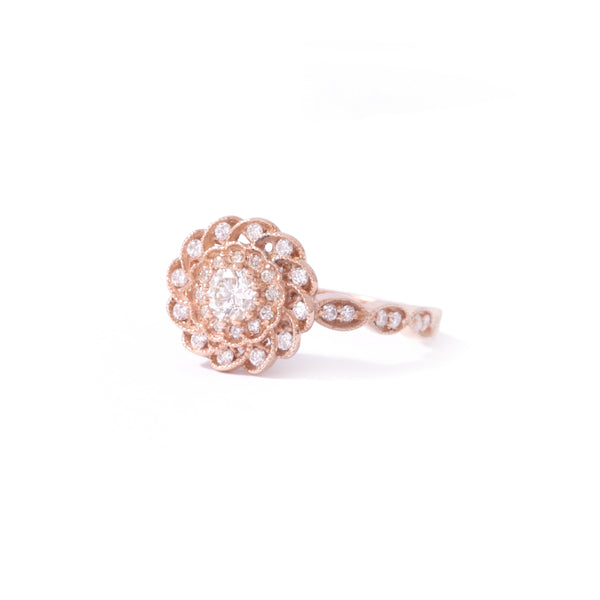 9ct Rose gold Diamond Peony Ring
