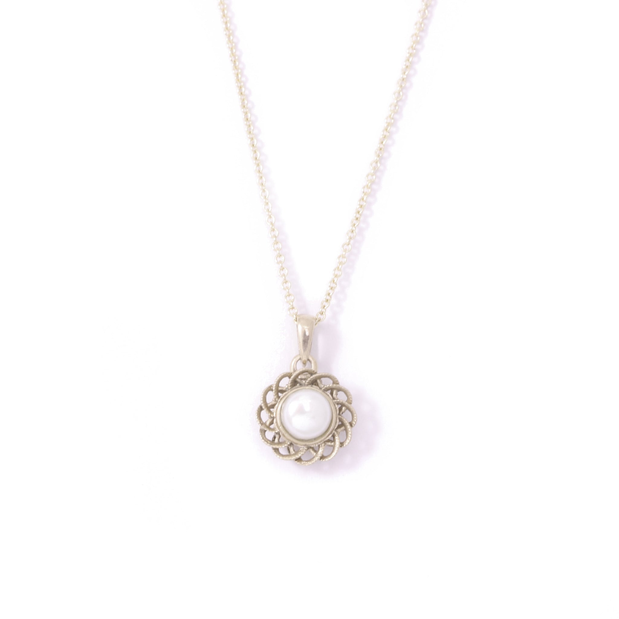 9ct White Gold Pearl Peony Pendant