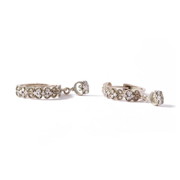 9ct White Gold Paradise Drop Huggies