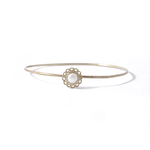 9ct White Gold Pearl Peony Bangle