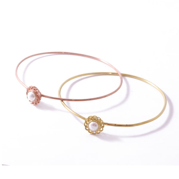 9ct Rose Gold Pearl Peony Bangle