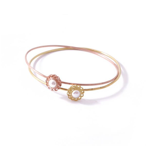 9ct Yellow Gold Pearl Peony Bangle