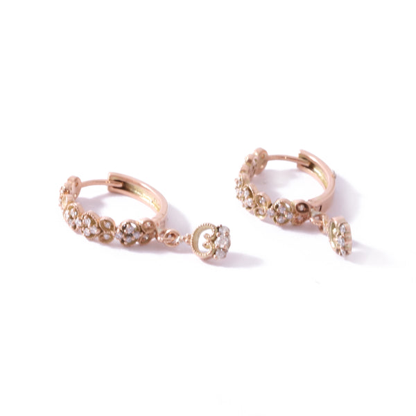 9ct Rose Gold Paradise Drop Huggies