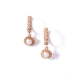 9ct Rose Gold Paradise Pearl Drop Huggies