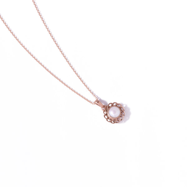 9ct Rose Gold Pearl Peony Pendant