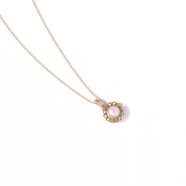 9ct Yellow Gold Pearl Peony Pendant