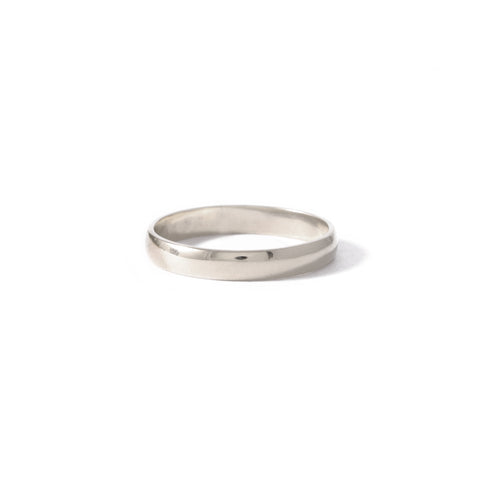 9ct White Gold Half Round Band 3mm