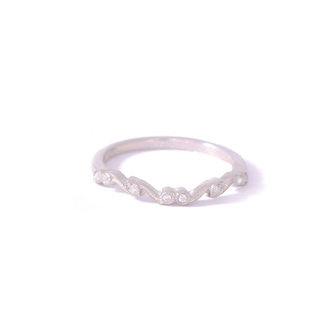 9ct White Gold Curved Curly Diamond Band