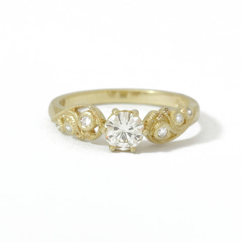 9ct Yellow Gold Diamond Filigree Engagement Ring