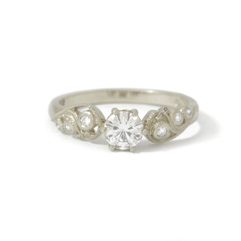 9ct White Gold Diamond Filigree Engagement Ring