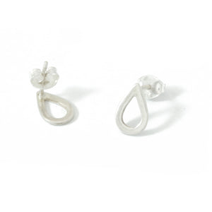 Silver Teardrop Stud Earrings