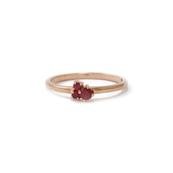 Rose Gold Trinity Ring with Rubies
