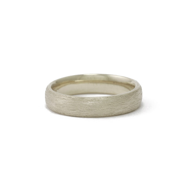9ct White Gold Textured men's ring
