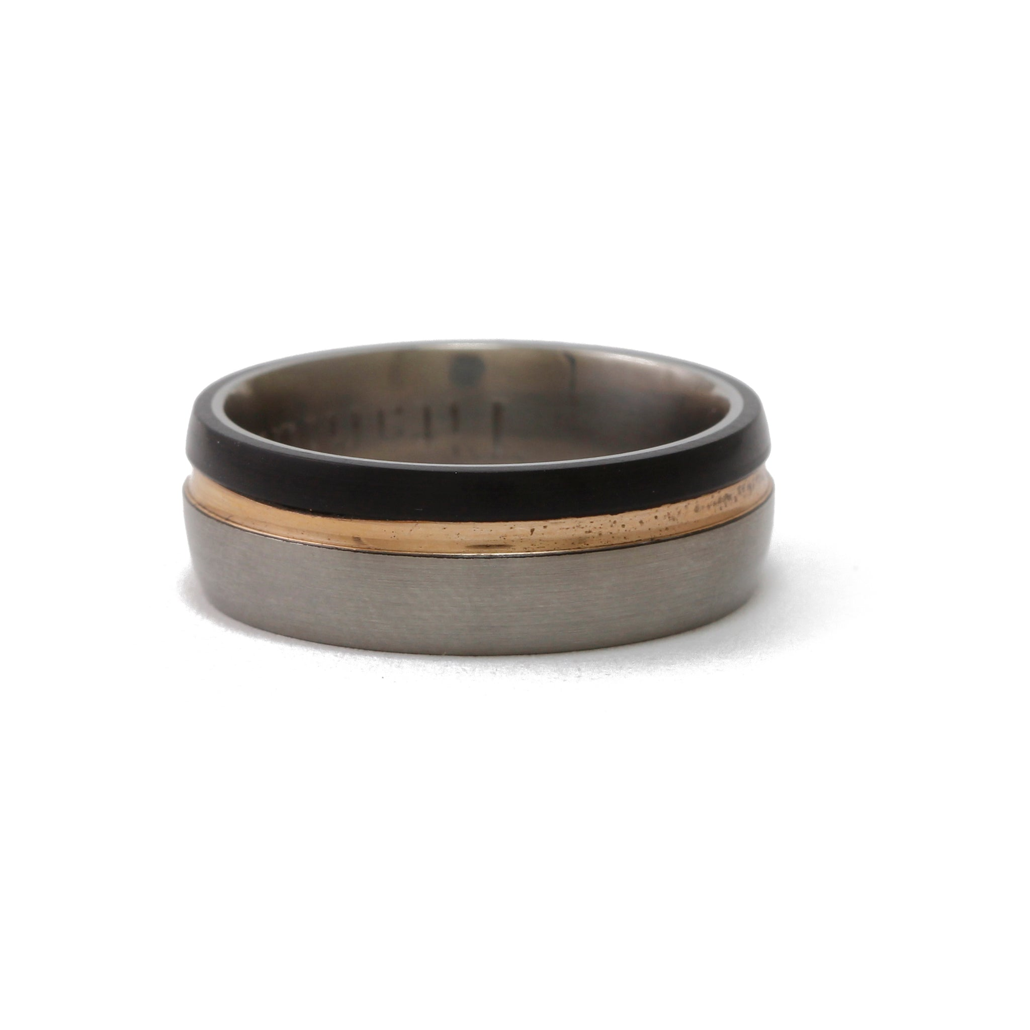 Titanium Rose Gold Teflon Ring
