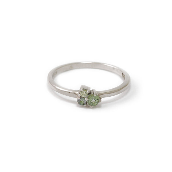 Silver Trilogy Green Sapphire Ring