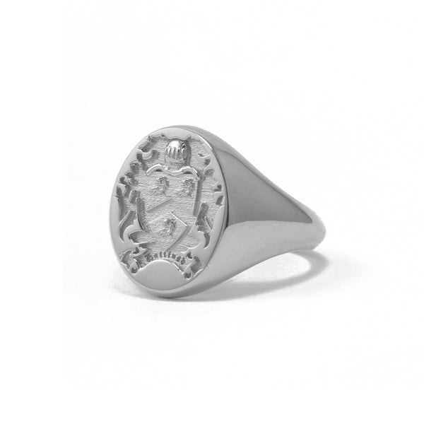 9ct White Gold Oval Legacy Signet Ring