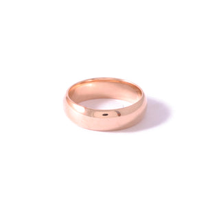 9ct Rose Gold Half Round Men's Band 6mm Polished