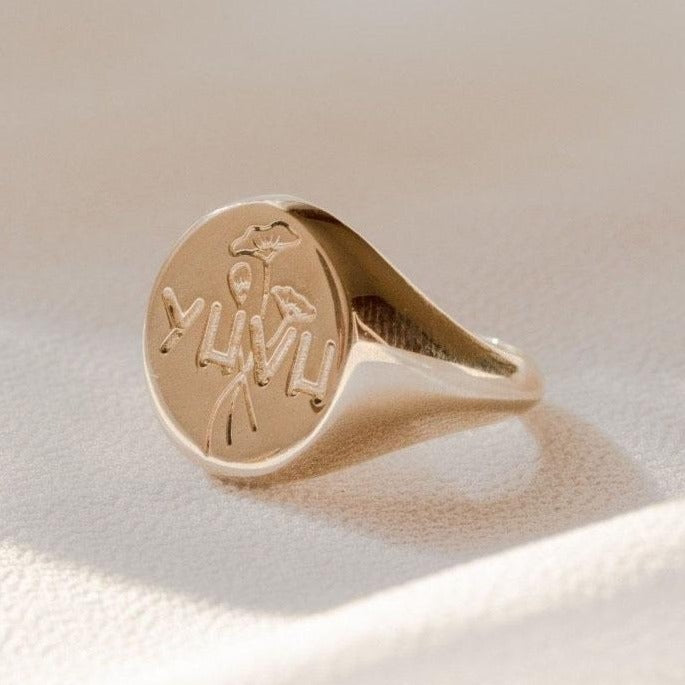 YHVH signet Ring in Brass