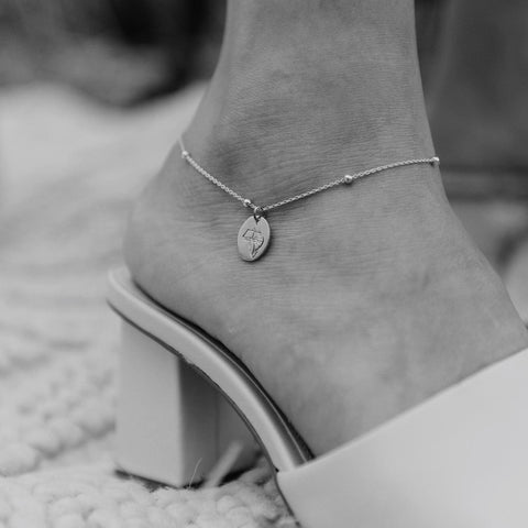 Rolo Oval Bead Anklet in Silver