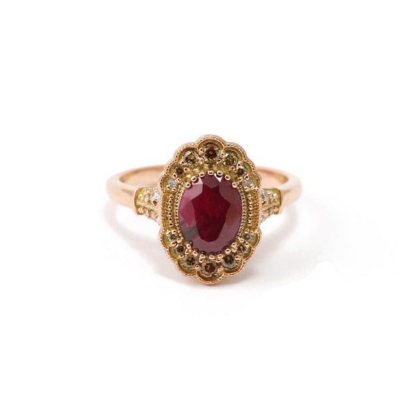 Rose Gold Ruby Mill Grain Ring