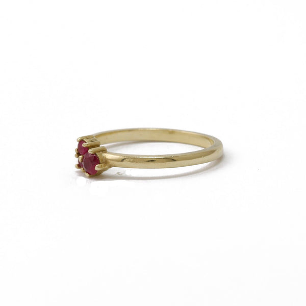Yellow Gold Trinity Ring with Rubies