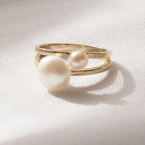 Grit and Grace Pearl Ring in Brass