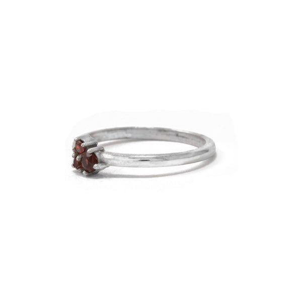 White Gold Trinity Ring with Red Sapphires