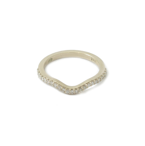 9ct White Gold Curved Half Eternity Diamond Band