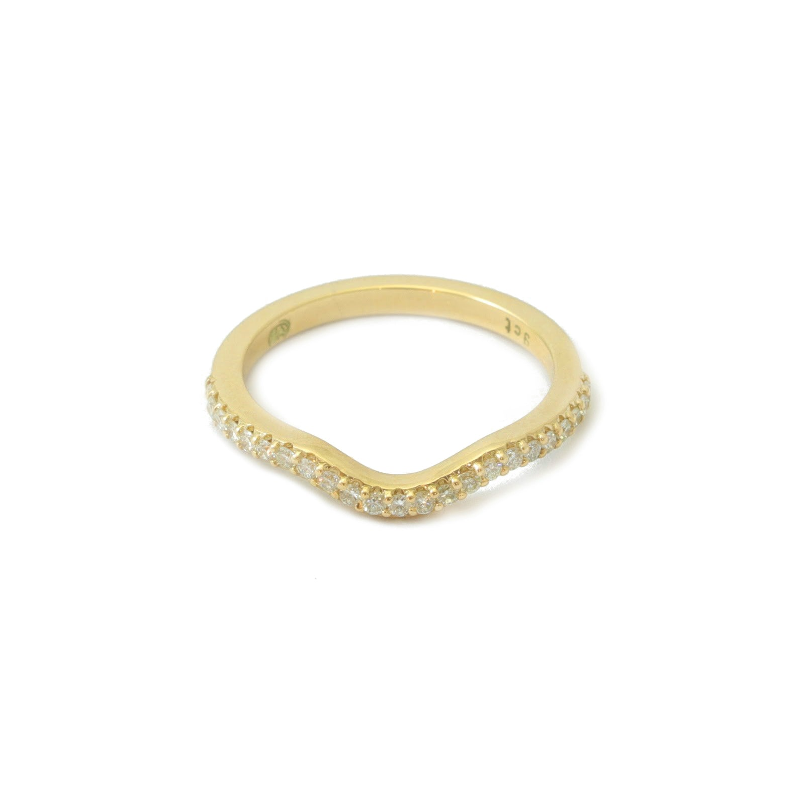 9ct Yellow Gold Curved Half Eternity Diamond Band