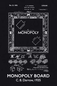 Monopoly Board Game Patent Print - 16X24 Inches / Titled Blackboard / Art Poster